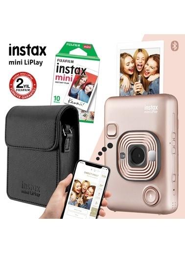 Fujifilm Instax mini LiPlay Hybrid Blush Gold Fotoğraf Makinesi Çantalı Hediye Seti 3 Altın